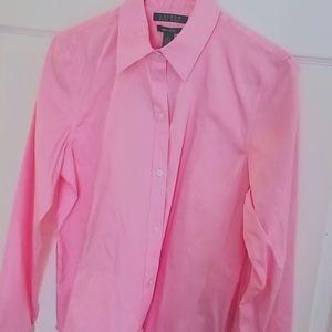 Lauren Ralph Lauren Pink Button Down Blouse NWT